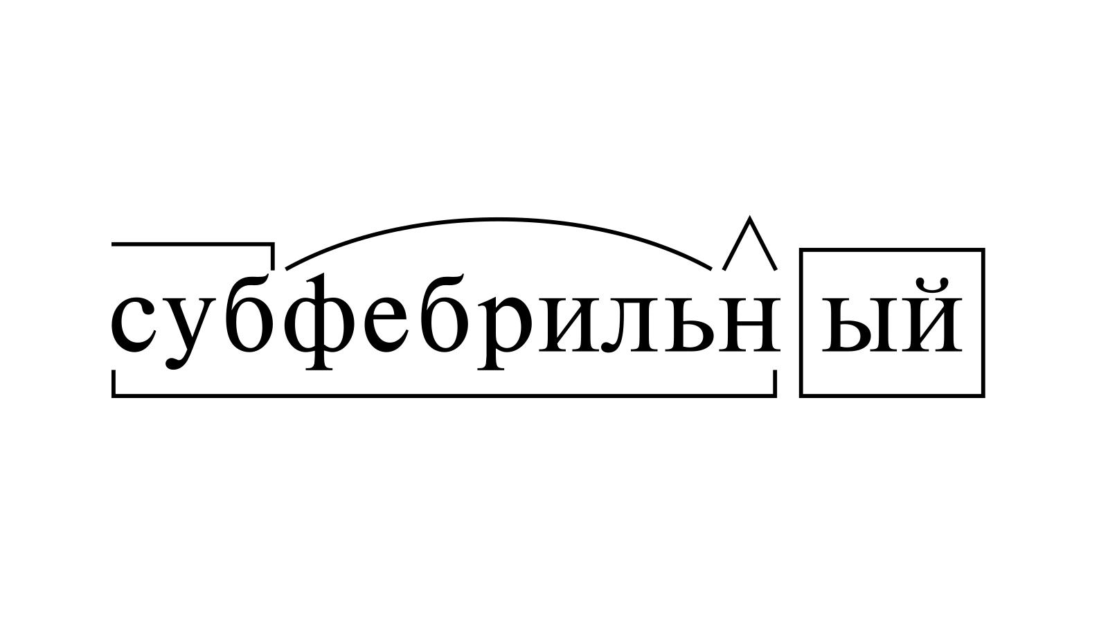 Разбор слова «субфебрильный» по составу