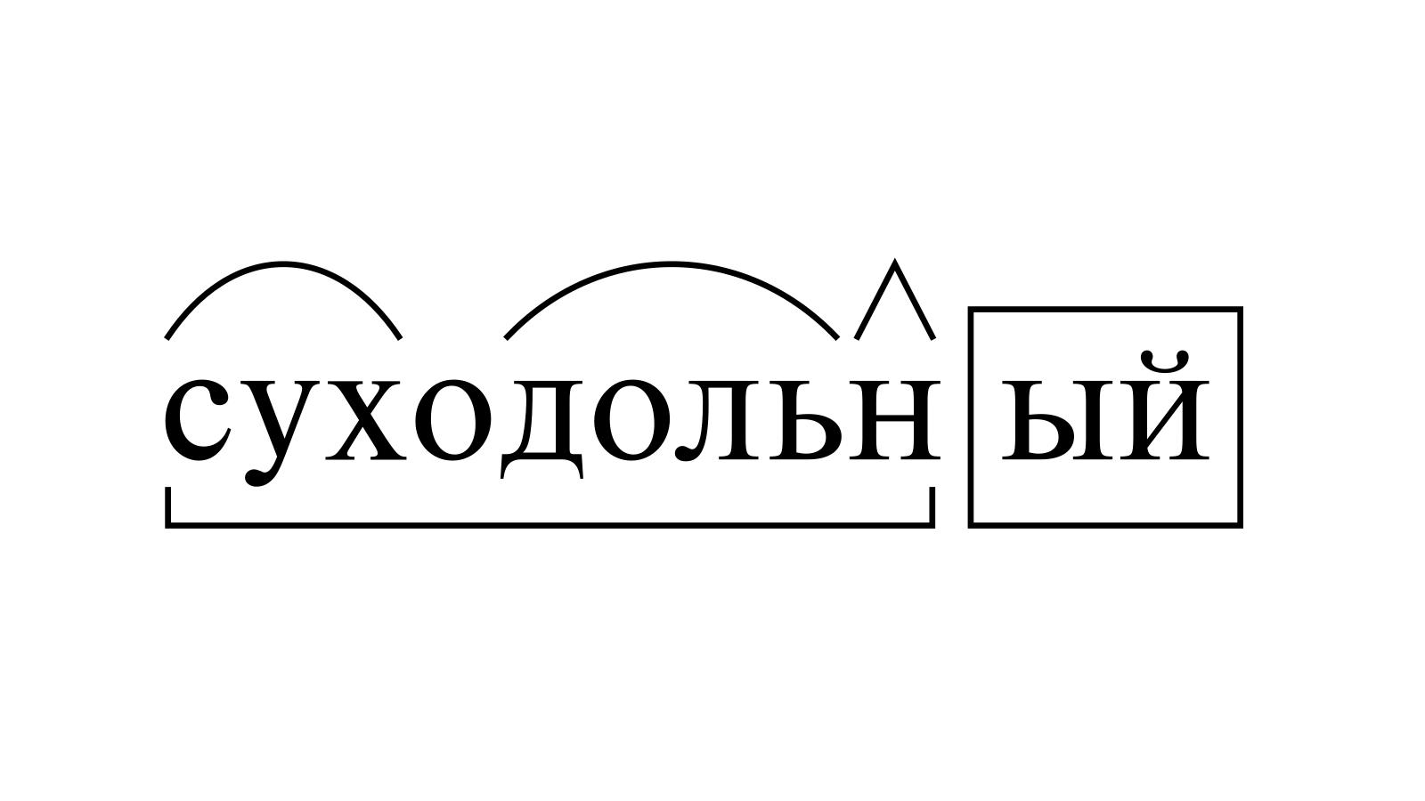 Разбор слова «суходольный» по составу