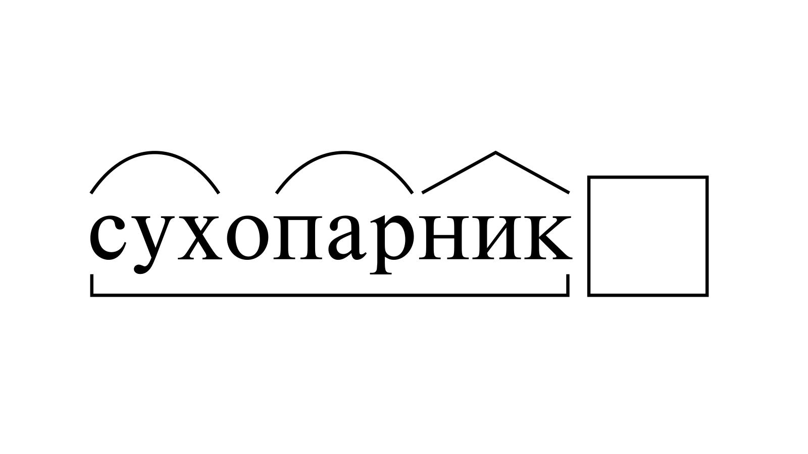Разбор слова «сухопарник» по составу