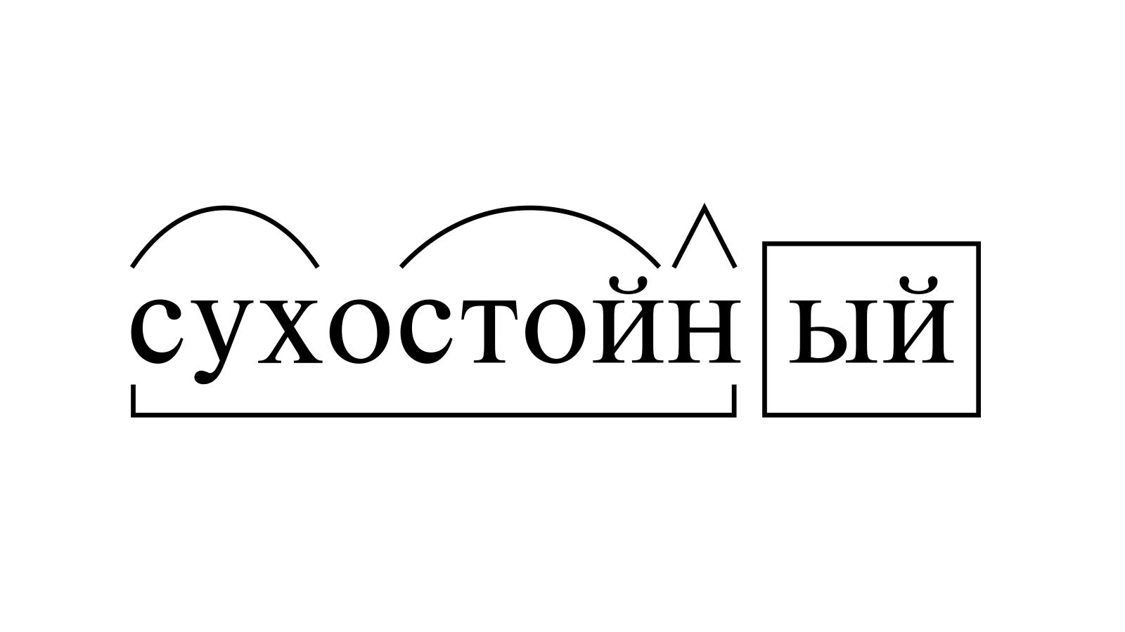 Разбор слова «сухостойный» по составу