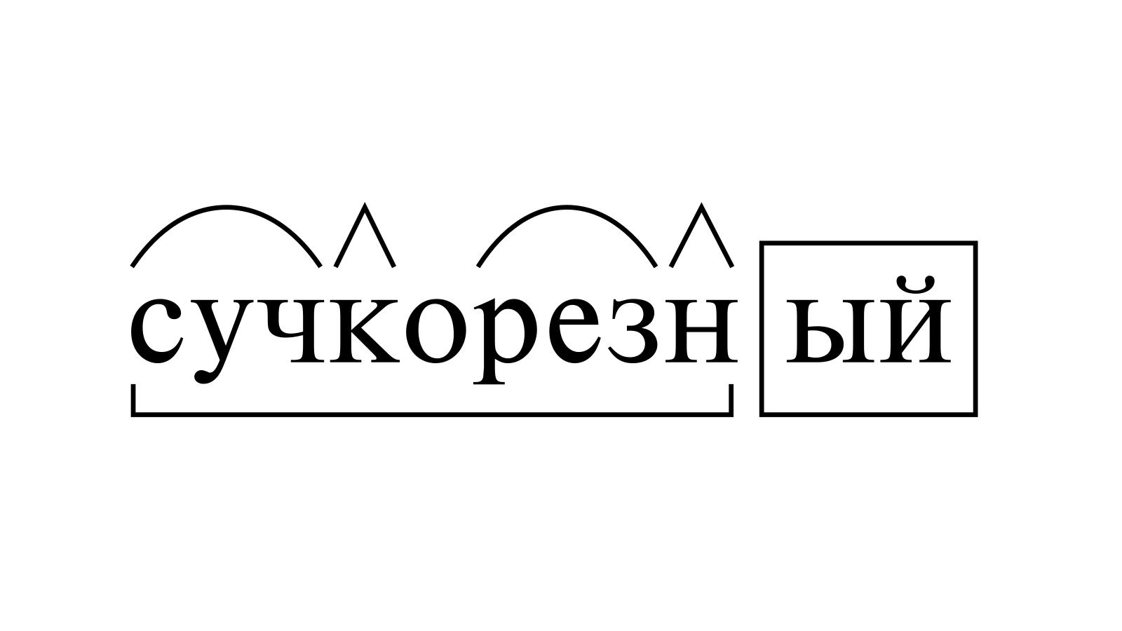 Разбор слова «сучкорезный» по составу