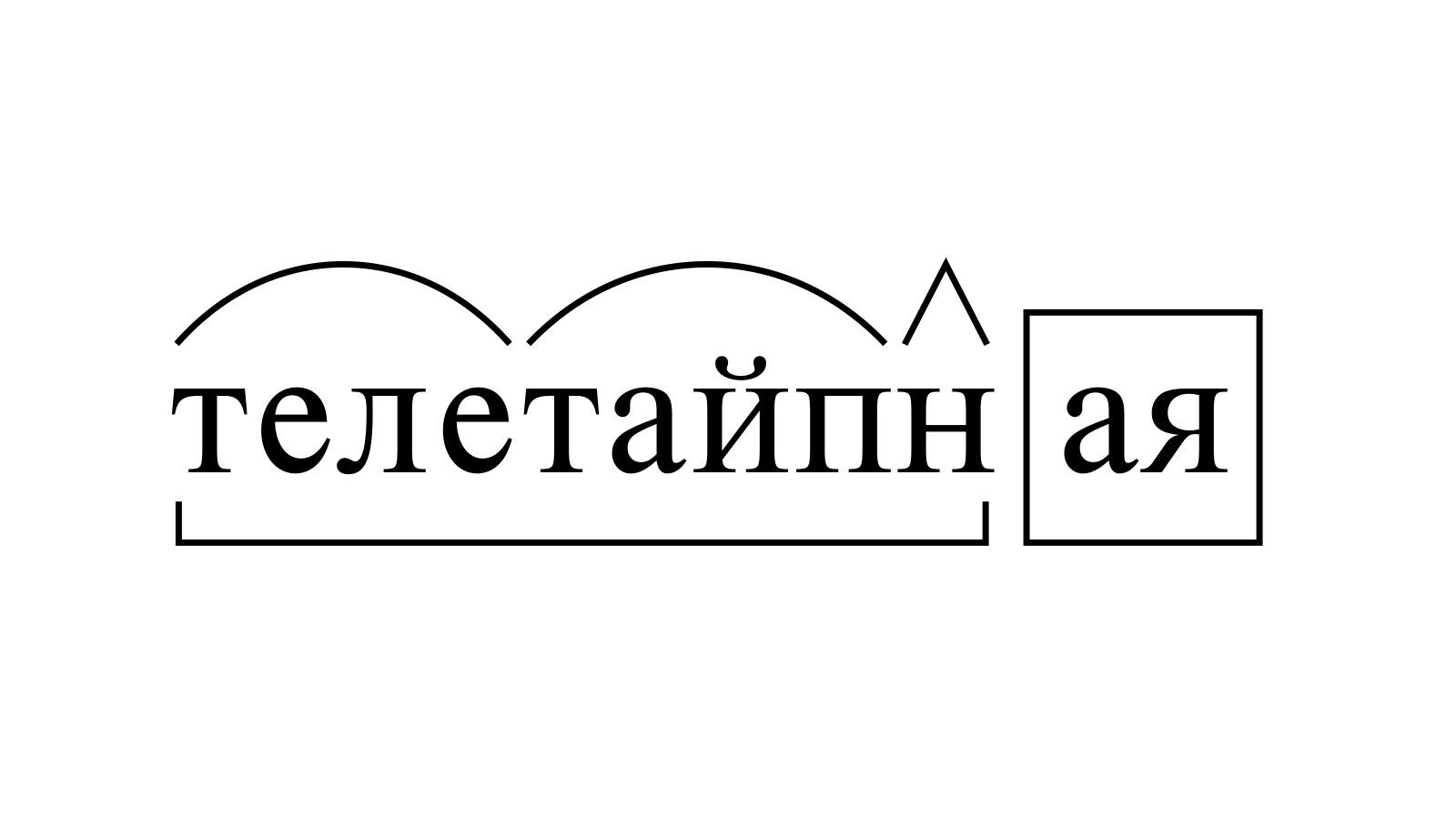 Разбор слова «телетайпная» по составу