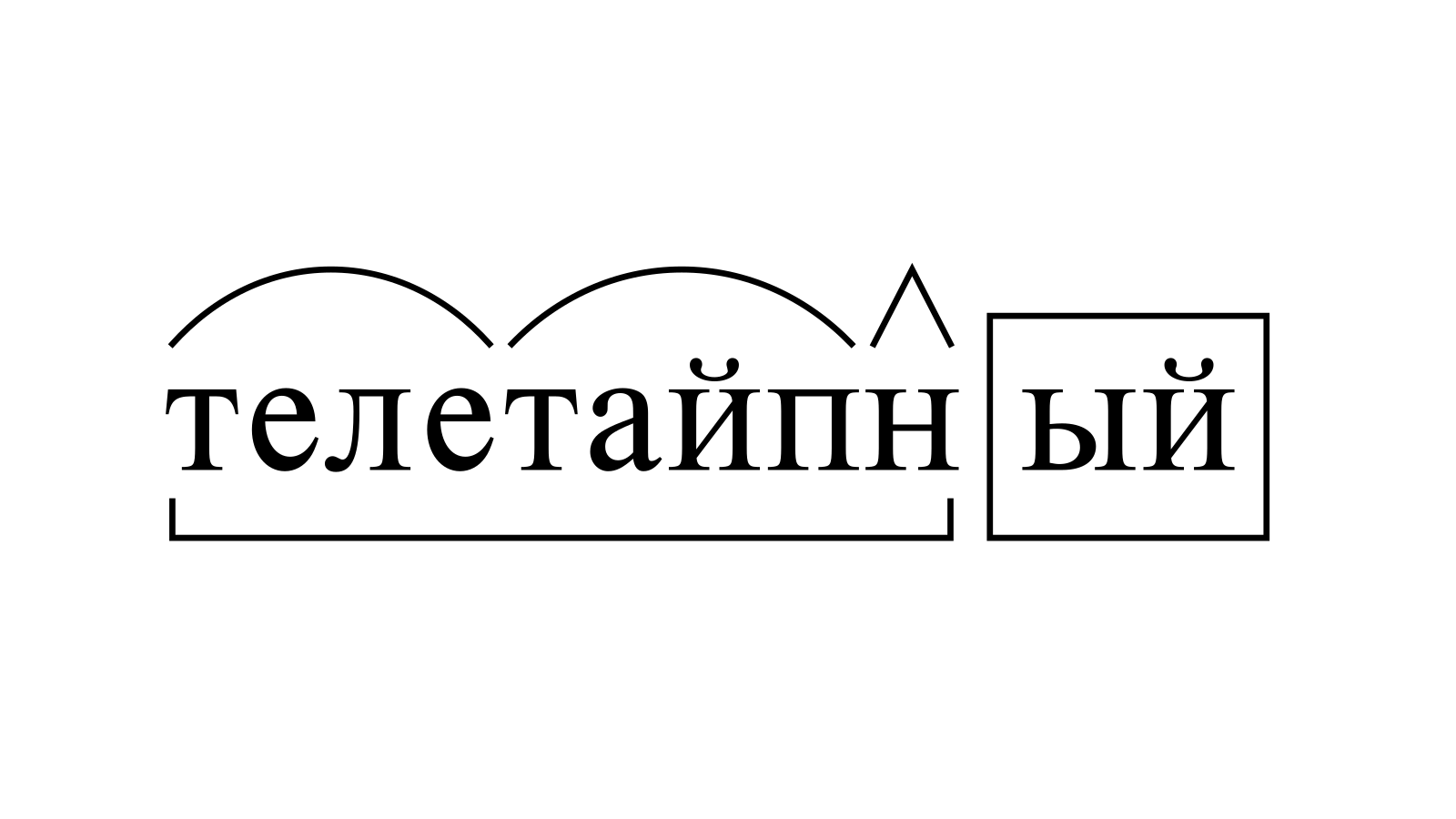 Разбор слова «телетайпный» по составу