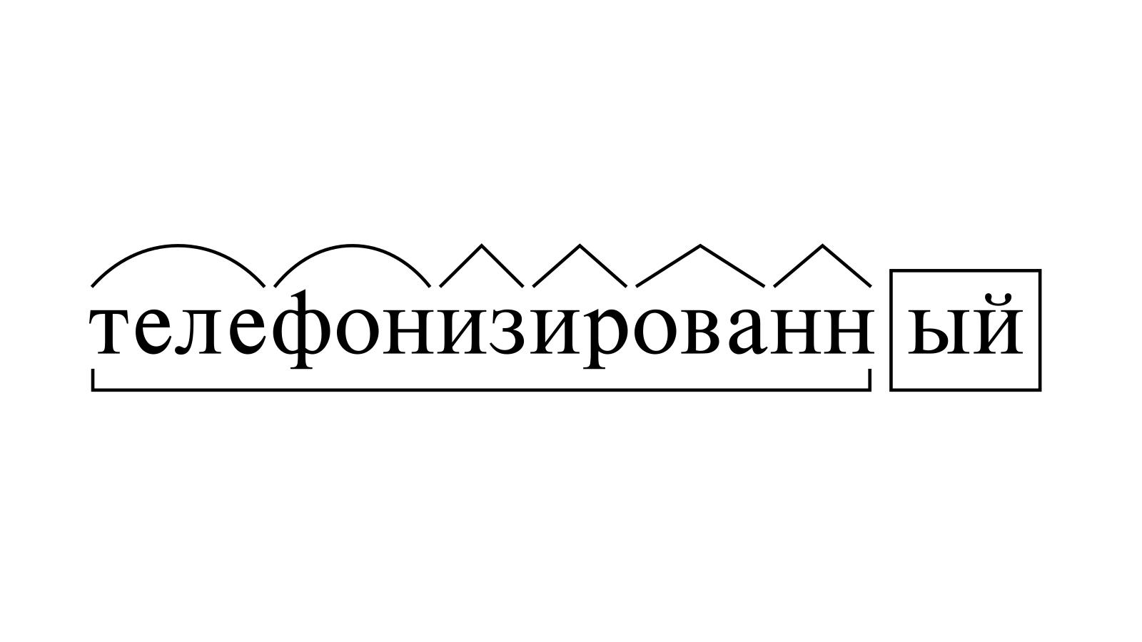 Разбор слова «телефонизированный» по составу