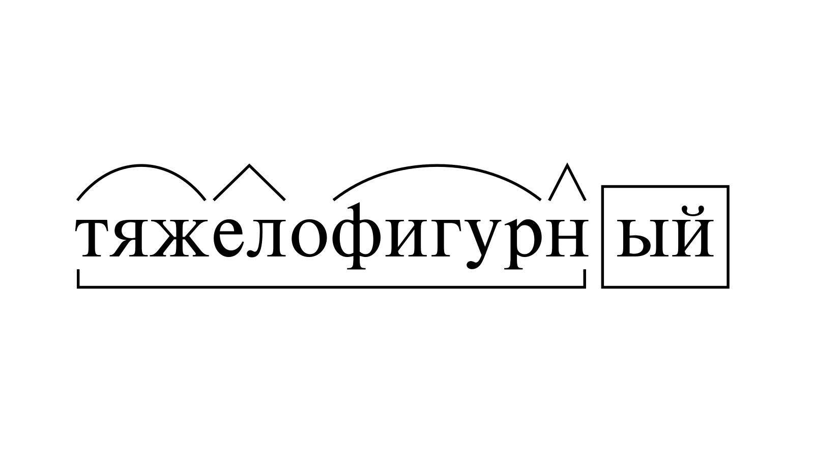 Разбор слова «тяжелофигурный» по составу