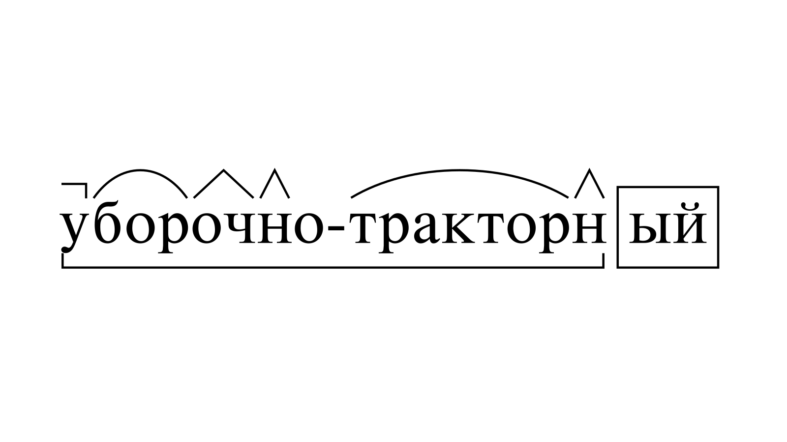 Разбор слова «уборочно-тракторный» по составу