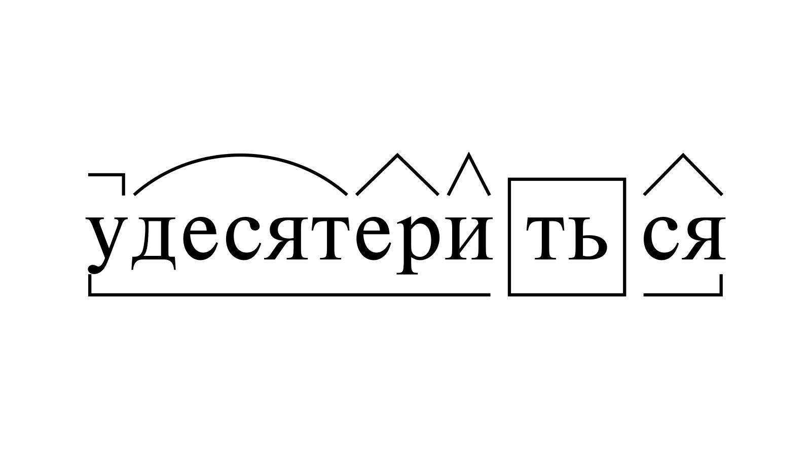 Разбор слова «удесятериться» по составу