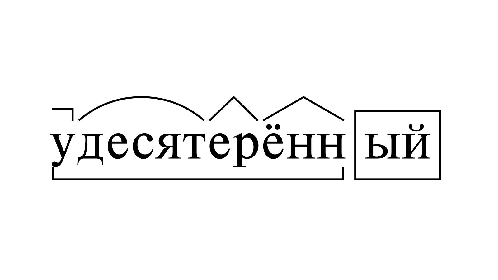 Разбор слова «удесятерённый» по составу