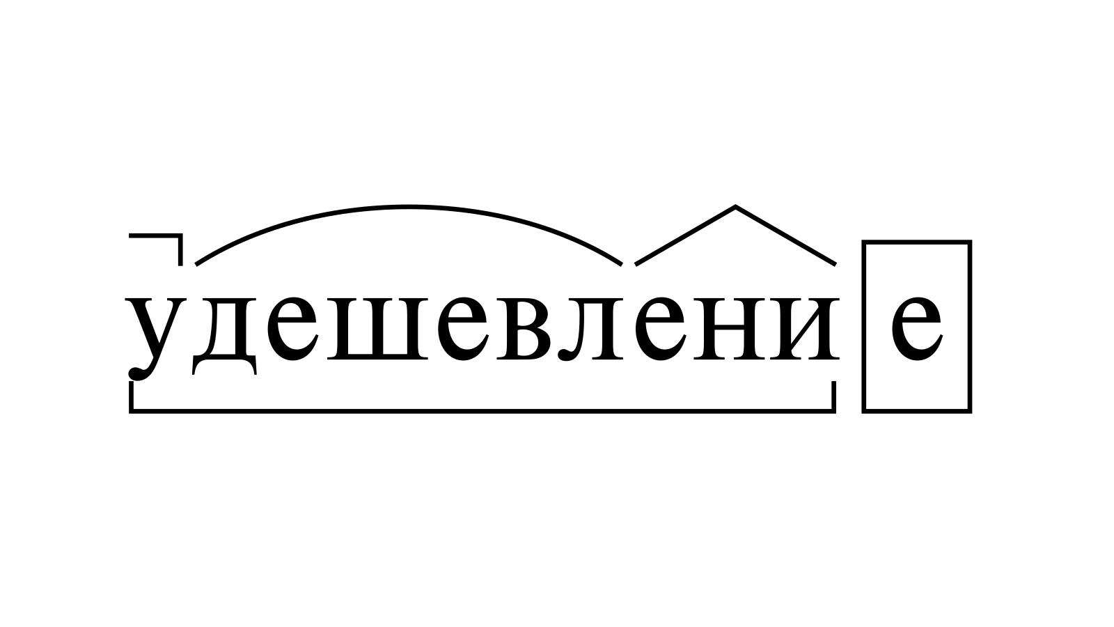 Разбор слова «удешевление» по составу