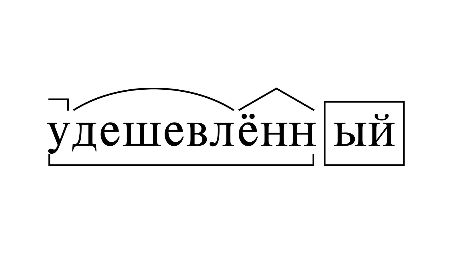 Разбор слова «удешевлённый» по составу