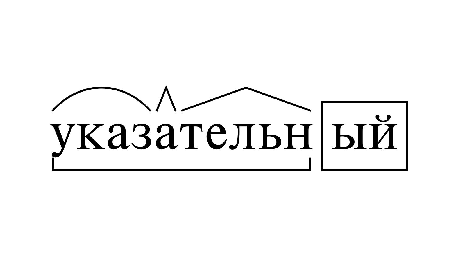 Разбор слова «указательный» по составу