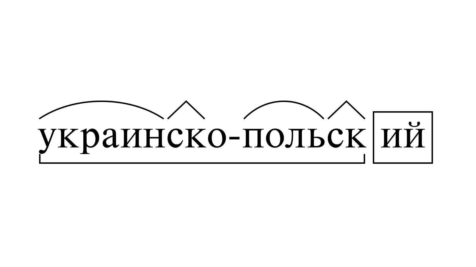 Разбор слова «украинско-польский» по составу