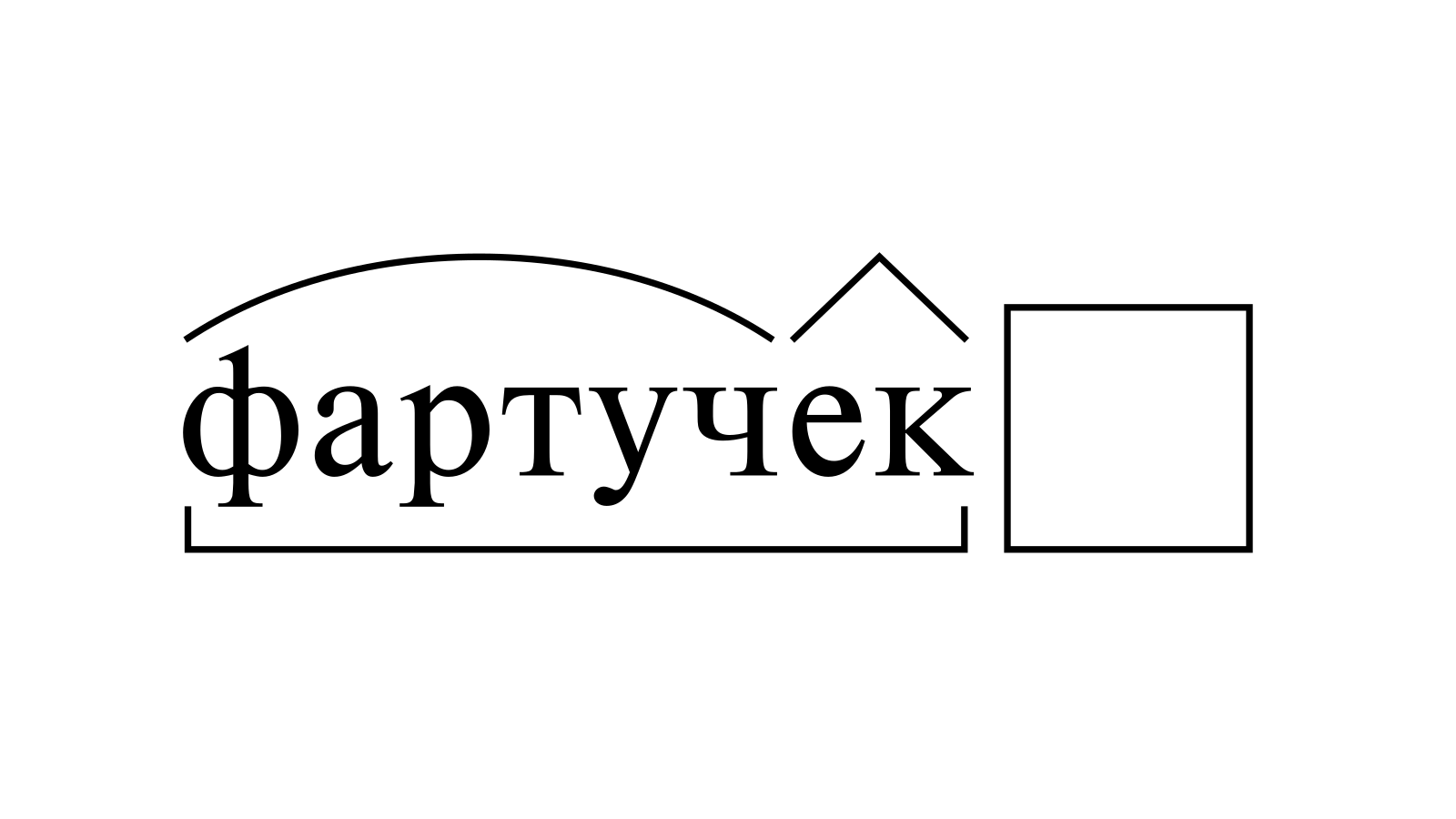 Разбор слова «фартучек» по составу