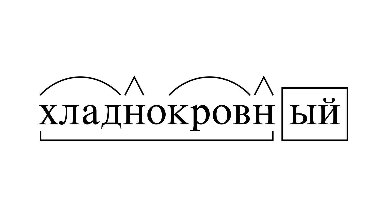 Разбор слова «хладнокровный» по составу