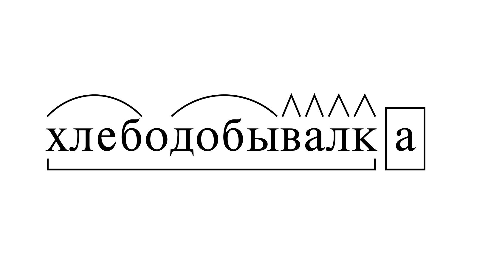 Разбор слова «хлебодобывалка» по составу