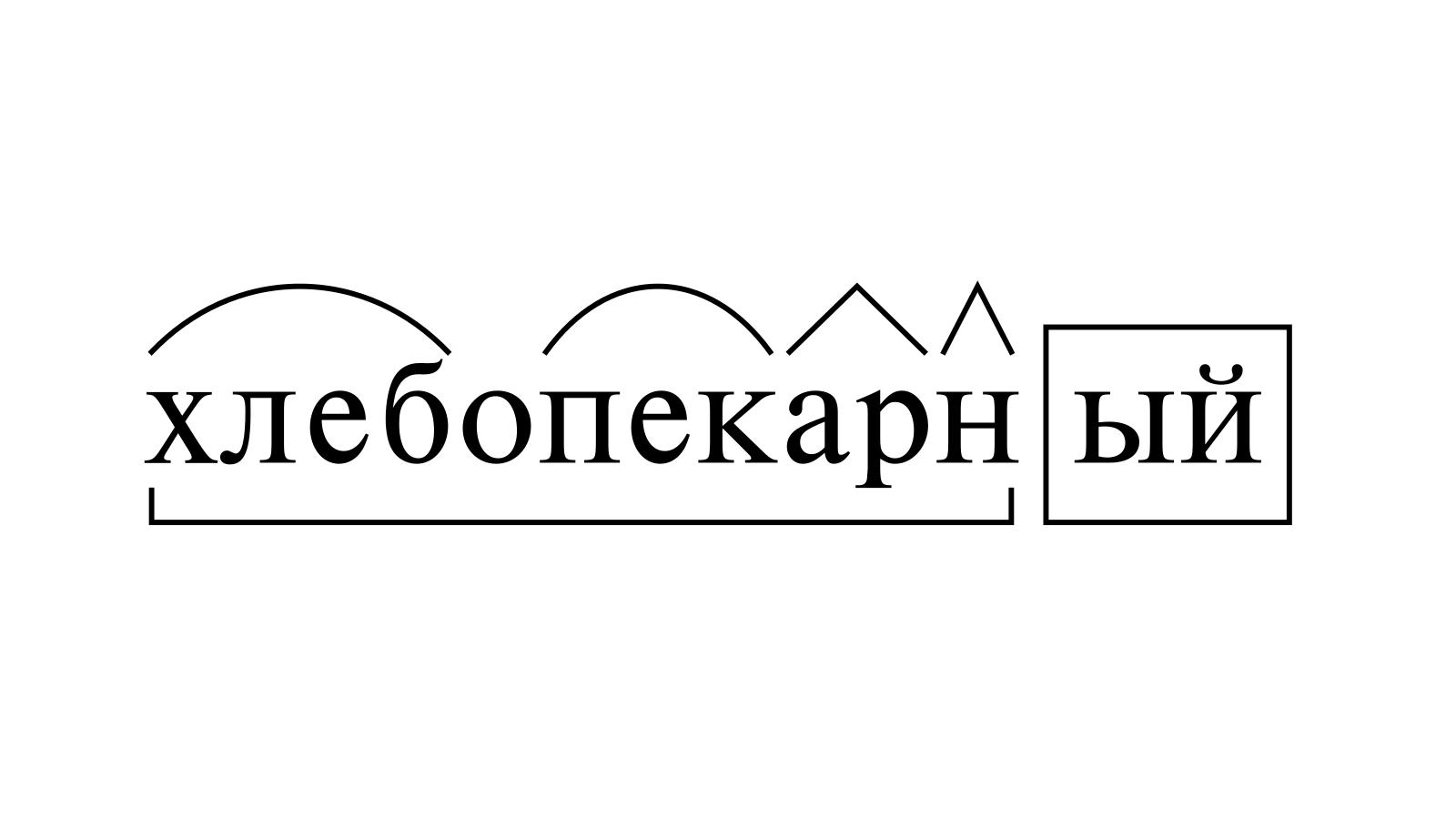 Разбор слова «хлебопекарный» по составу
