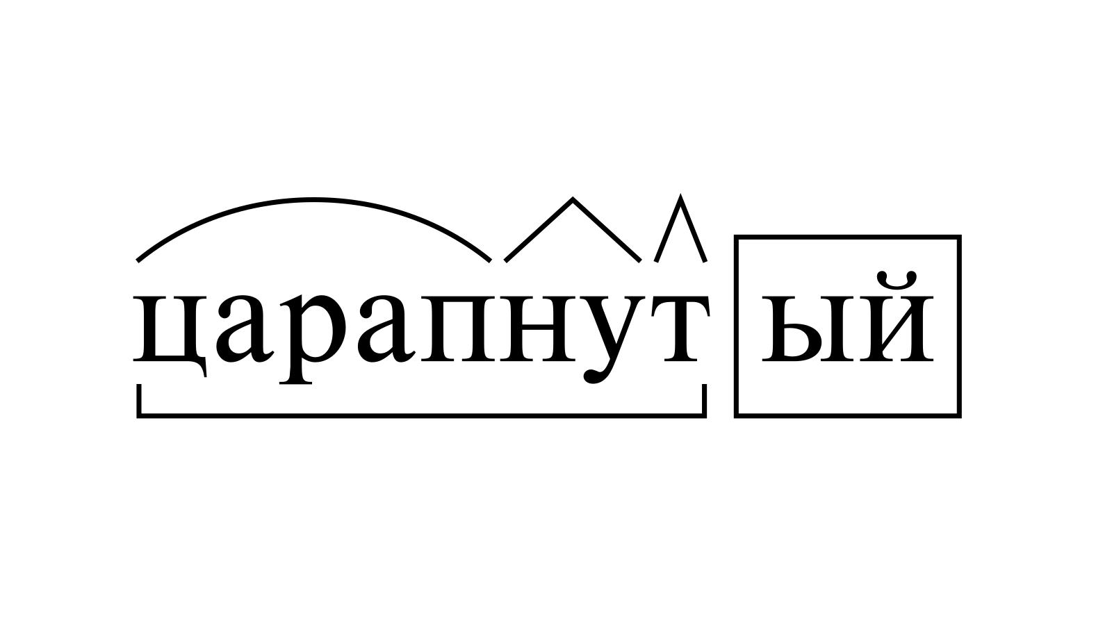 Разбор слова «царапнутый» по составу