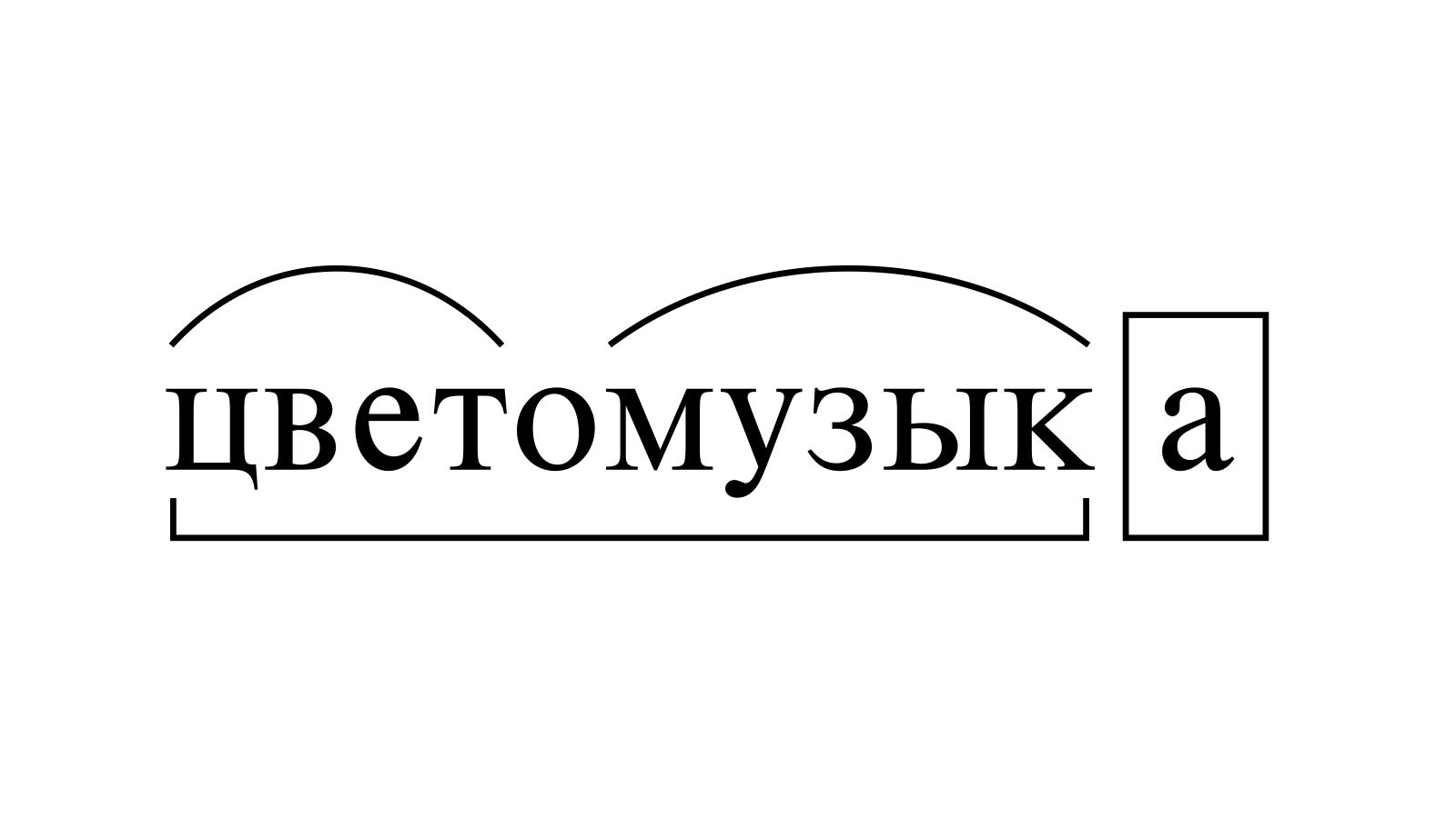 Разбор слова «цветомузыка» по составу