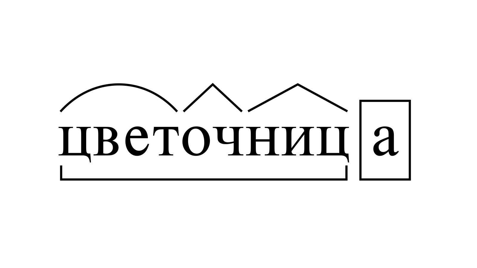 Разбор слова «цветочница» по составу