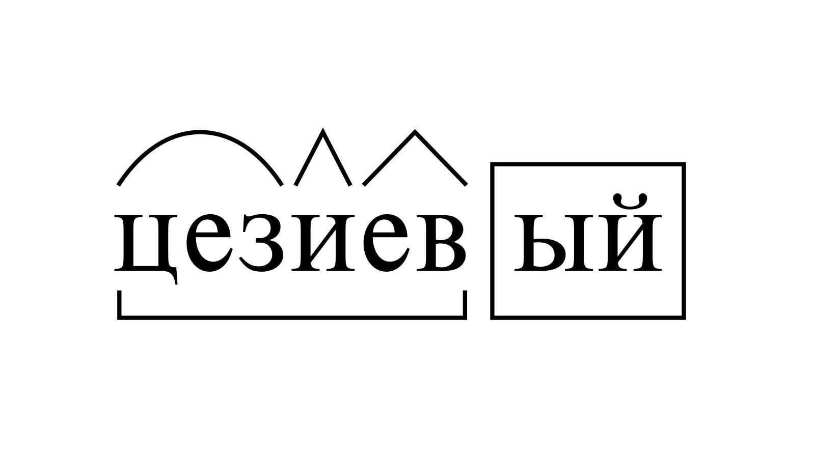 Разбор слова «цезиевый» по составу