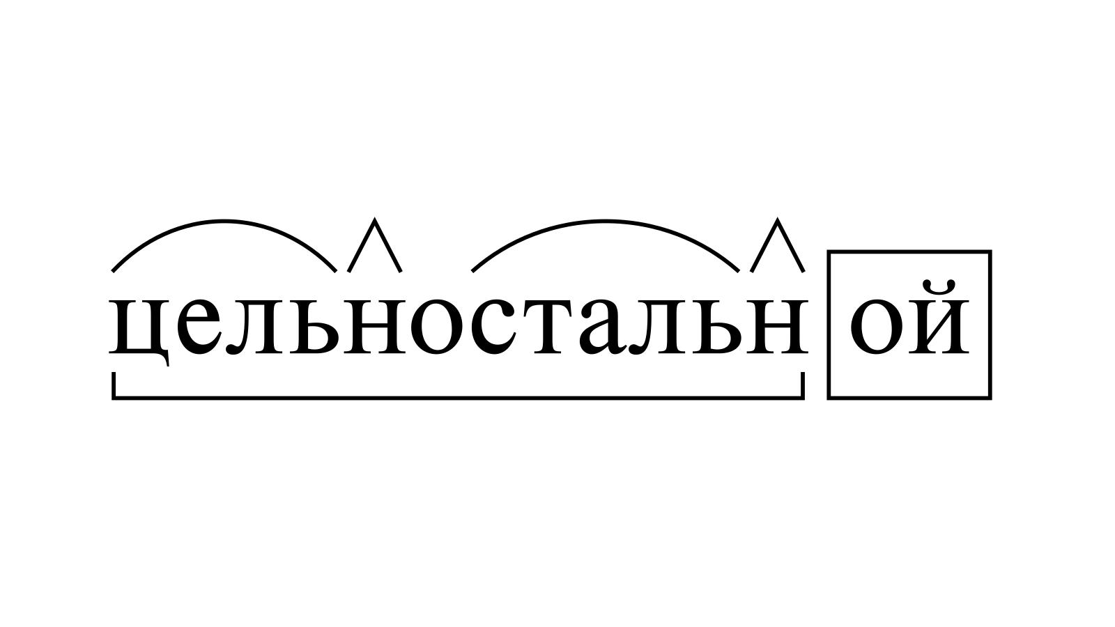 Разбор слова «цельностальной» по составу