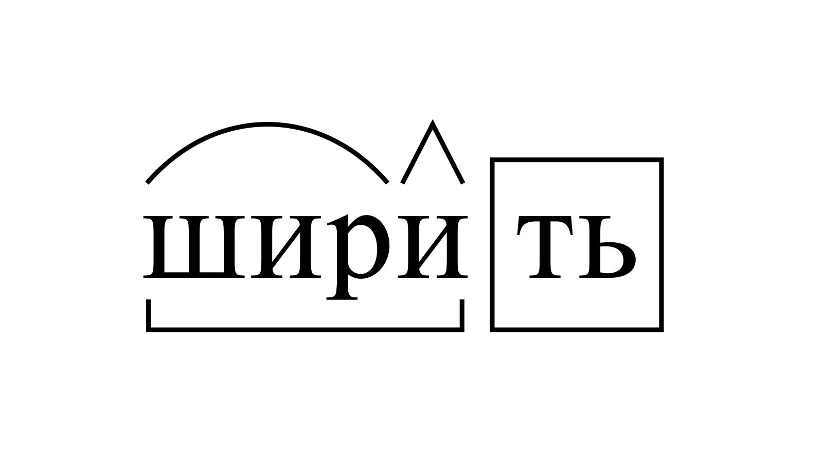 Разбор слова «ширить» по составу