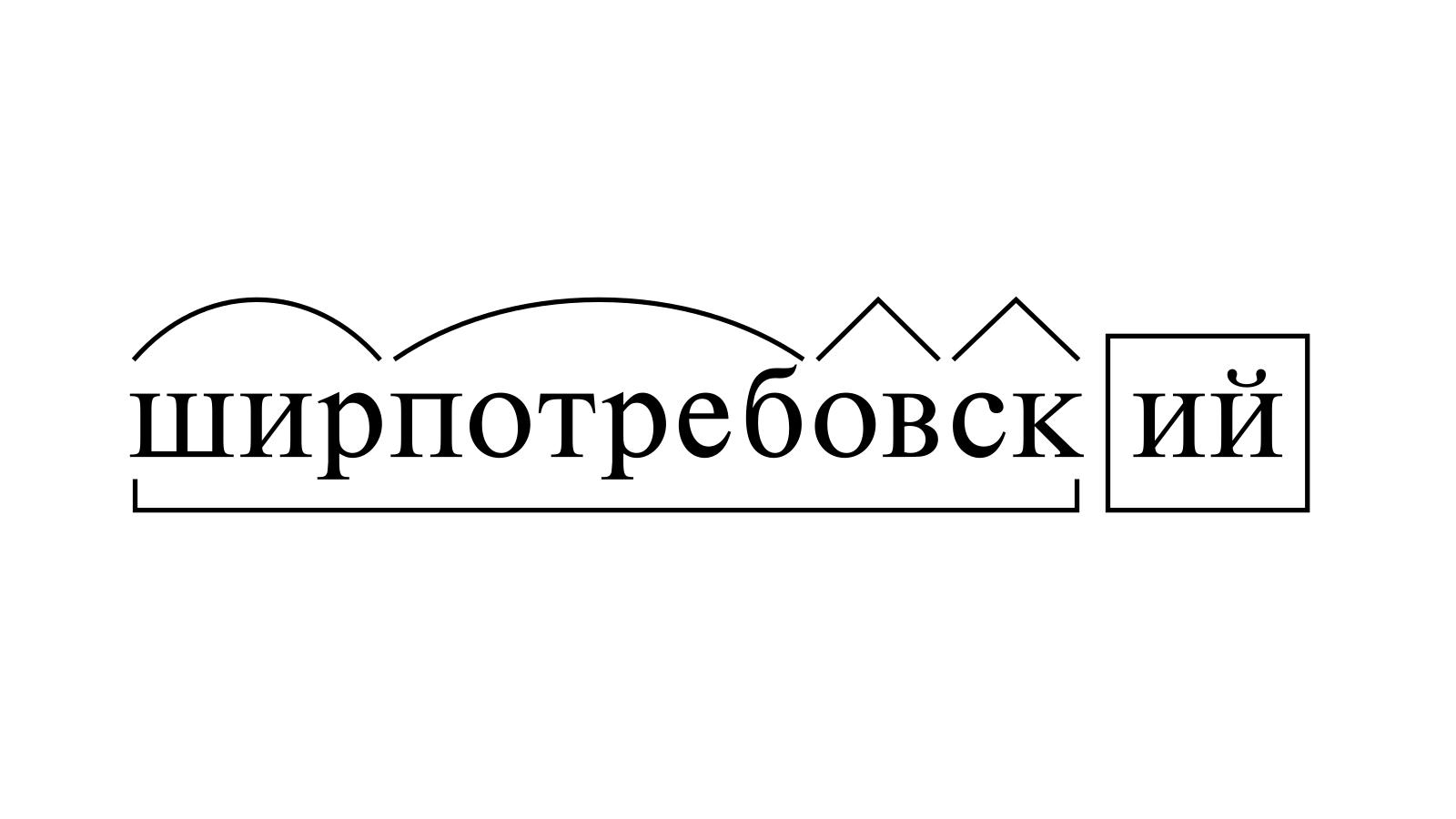Разбор слова «ширпотребовский» по составу