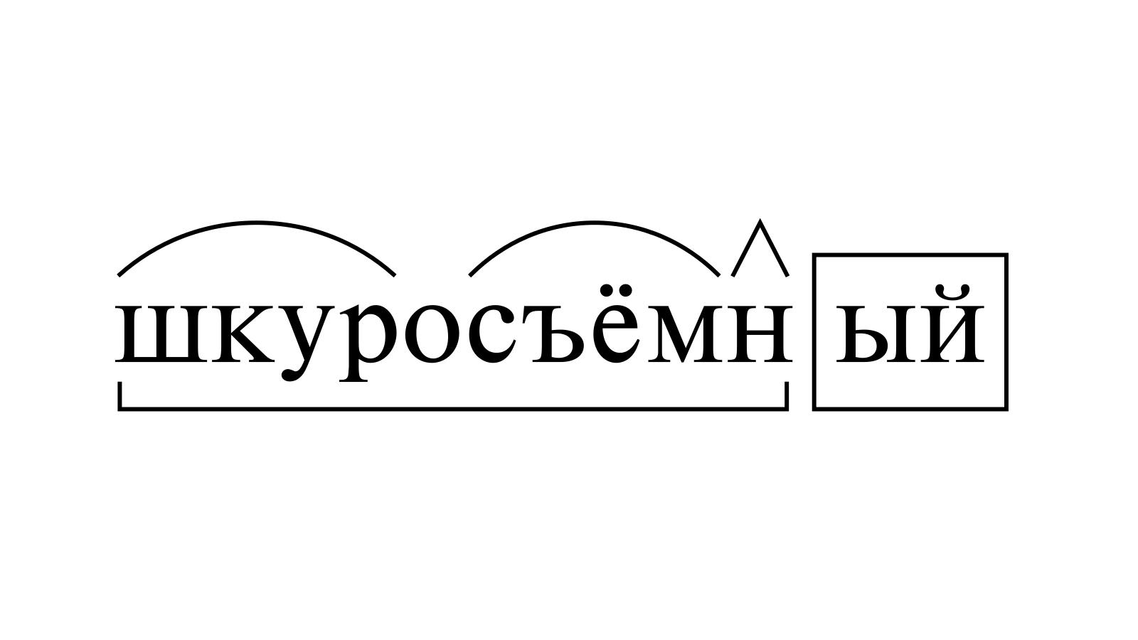 Разбор слова «шкуросъёмный» по составу