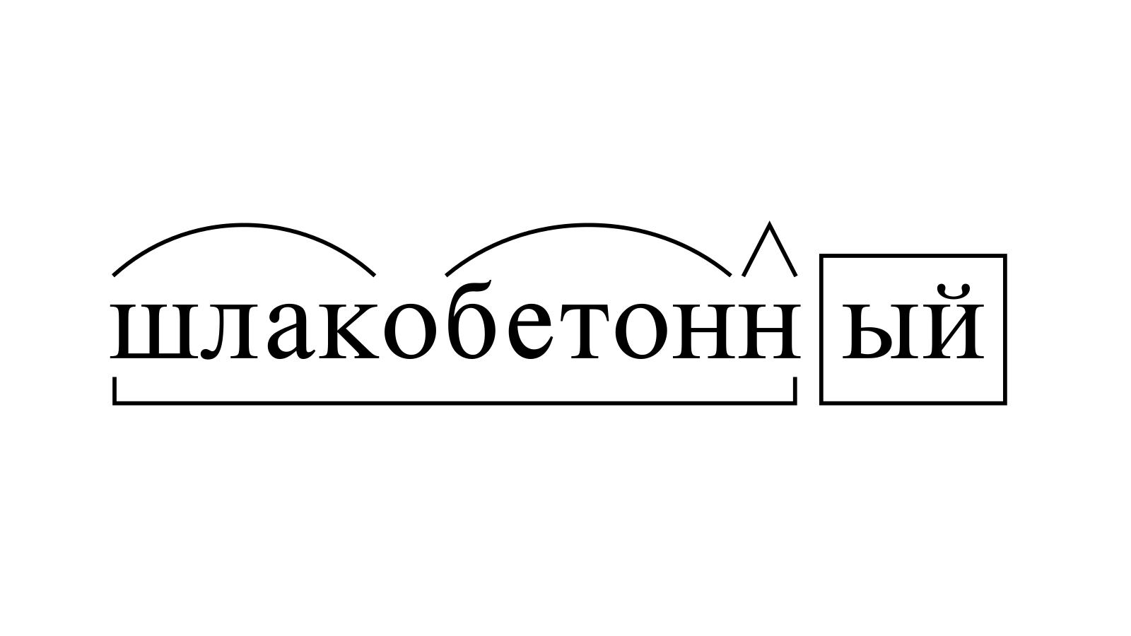 Разбор слова «шлакобетонный» по составу