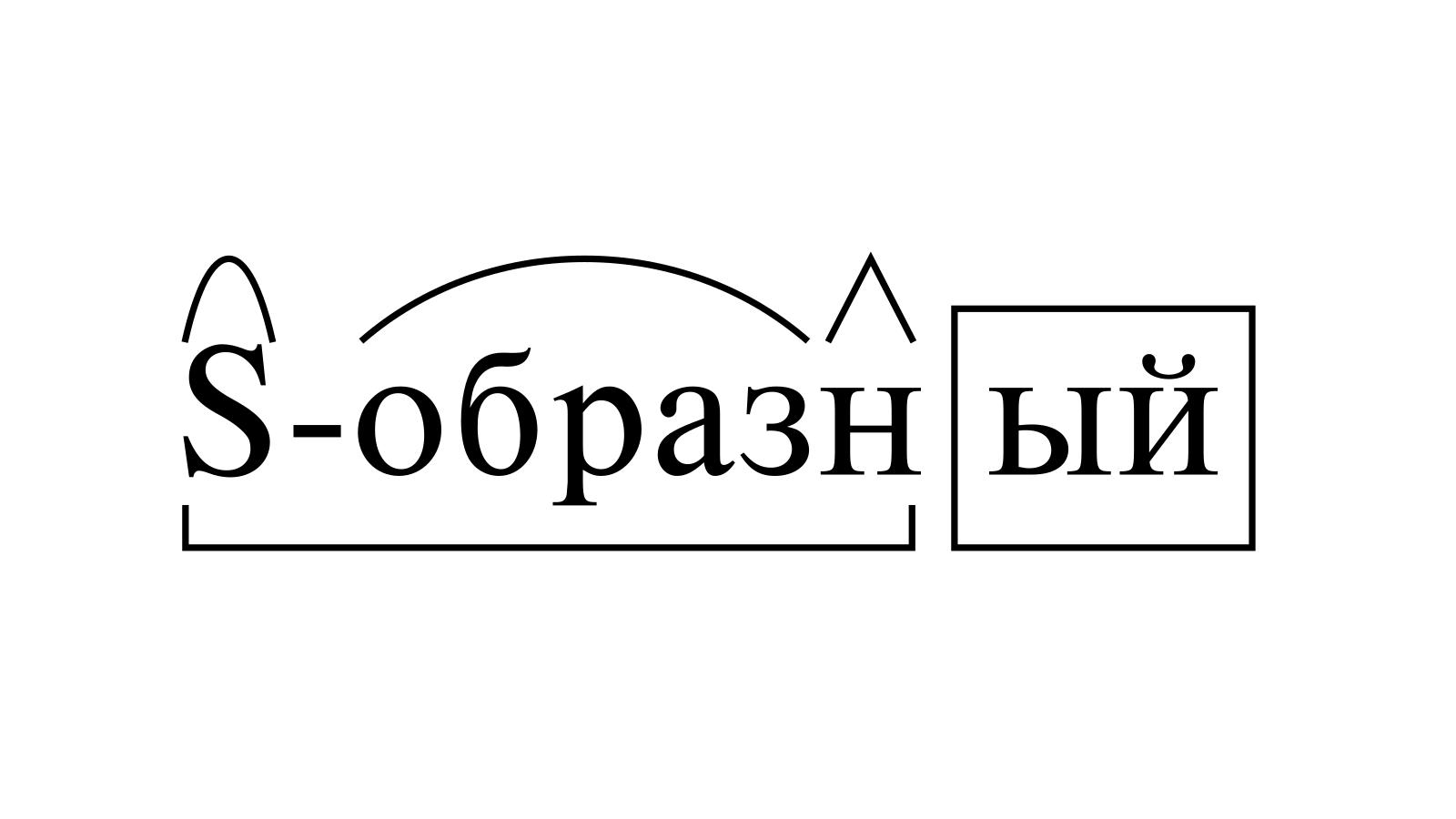 Разбор слова «S-образный» по составу