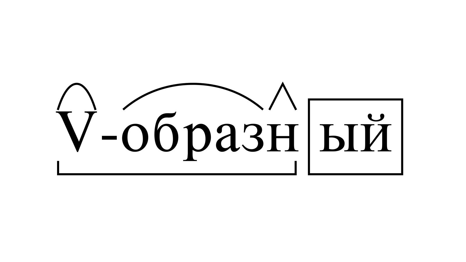 Разбор слова «V-образный» по составу